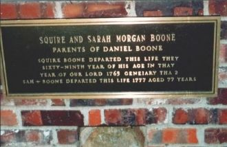 Close-up of Squire's and Sarah's memorial plaque