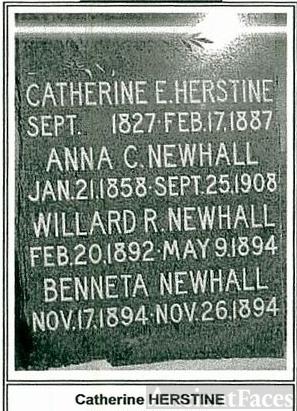 Gravestone of Catherine Herstine & daughter Anna