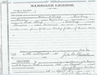 Marriage License of William Nathaniel Bishop