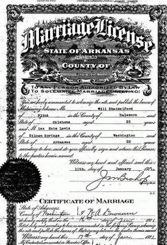 Shackelford/Lewis Marriage Certificate