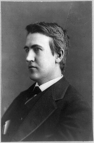 [Thomas Edison, head-and-shoulders portrait, facing left]