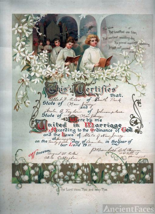 Marriage cerftificate  Hester & Albert 1911