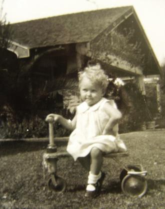 1940's Child On Her Kiddie-Kar Trike