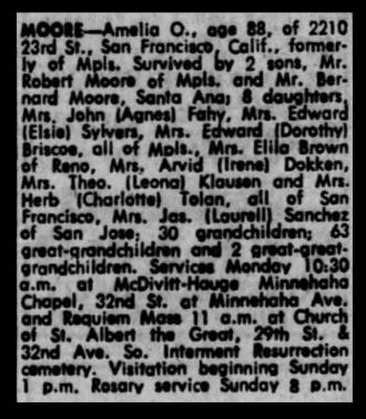 Amelia Moore Obituary
