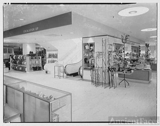 Gimbels, business in Valley Stream, Long Island. Escalator