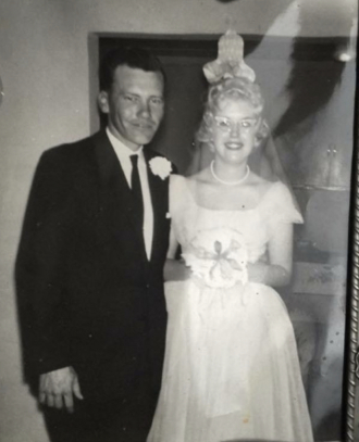 Bill and Linda Lefler on their wedding day, March 18.