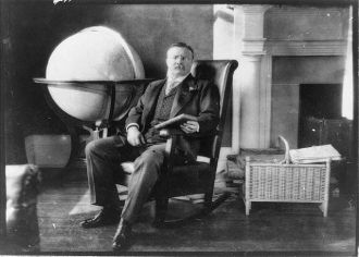 [Theodore Roosevelt, full-length portrait, seated by...
