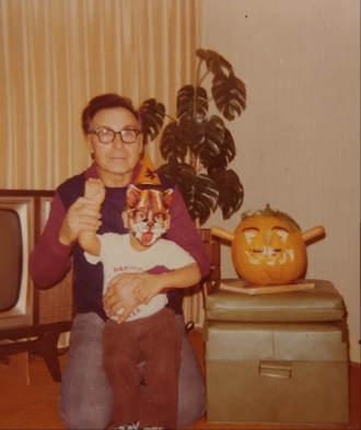 Halloween time. Grandpa Mike Rekush with Blue-Jay. Photo taken in the 1970s.