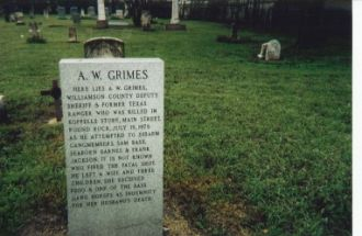 The Newer Tombstone of Ahijah W. Grimes, Lawman Killed By Sam Bass & His Gang On 19 July, 1878