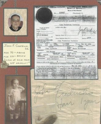 John F. Costello, Sr - Birth Cert.