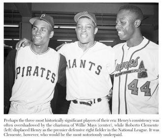 Roberto Clemente, Willie Mays and Hank Aaron