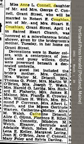 Anne Louise Connell-Coughlan--Portland Press Herald (Portland, Maine)(29 mar 1951)