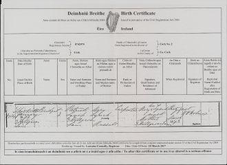 Bridget Mary Lynch Birth Certificate