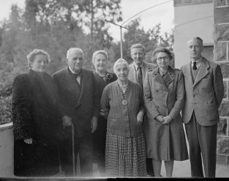 Miss Vartan's birthday group at Tiberias, Feb. 6, 1945