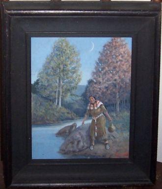 Gus Garrett Gouache Painting - Sioux Woman Carrying Water