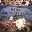 Alice Sasser Shipman Marker: Apple Hill Cemetery