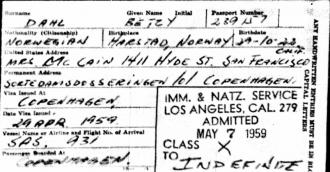 Betzy Dahl - Immigration Form