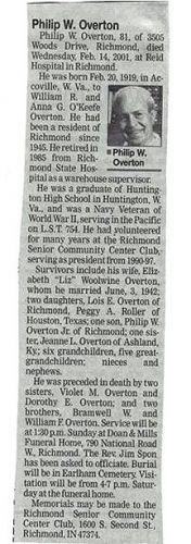 Obituary of Phillip Overton