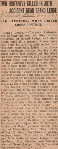Fatal Car Accident of Clarence Ambrook
