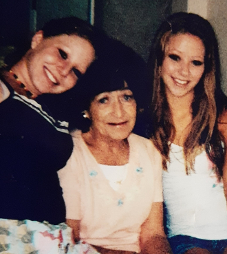 Eunice may Biro and granddaughters Amy R Mills and Ashley K Mills