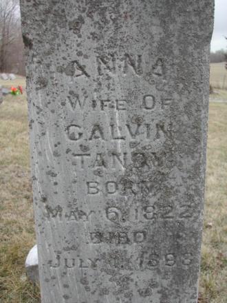 Gravestone of Anna Tandy at Beacon Cemetery, Beacon, Mahaska County, Iowa