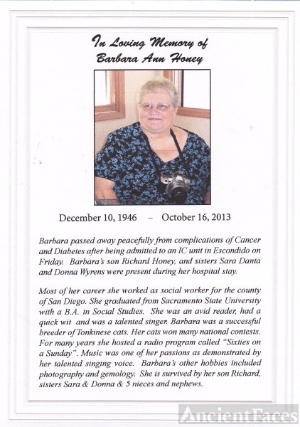 In Loving Memory of Barbara Ann Wyrens Honey