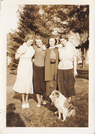 Four Friends and a Dog (Found Photo 1)