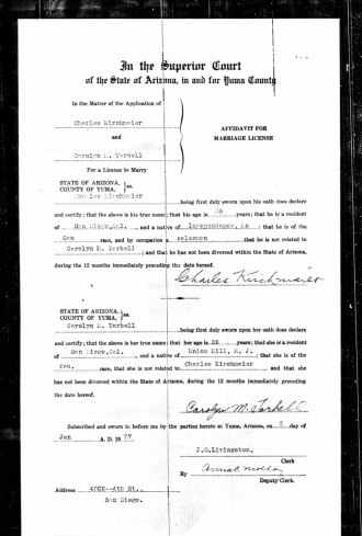 Charles Kirchmaier Marriage License