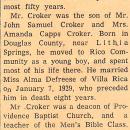 John W Croker Obituary