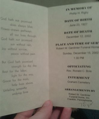 Phillip H Rigby funeral card