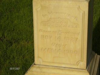 John Blackham headstone