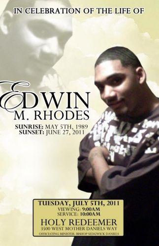 Edwin M Rhodes funeral program