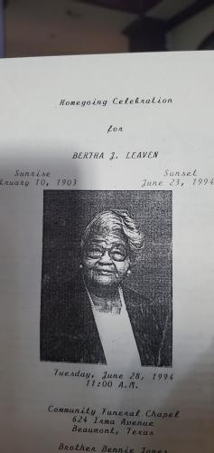 Bertha's obituary