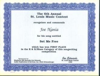Joe Nania song writing award