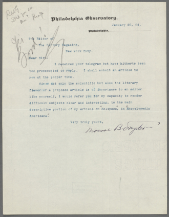 Letter from M. B. Snyder