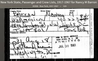 Nancy Maynes Barron--New York State, Passenger and Crew Lists, 1917-1967(30jul1961)