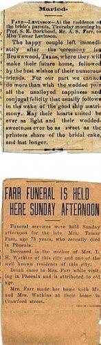 Levinson/Farr marriage; Farr funeral