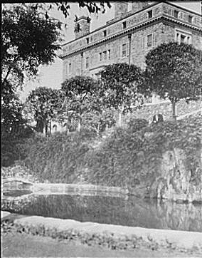 Garden and house at Kijkuit, John D. Rockefeller's...