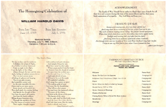 William Davis Funeral Program