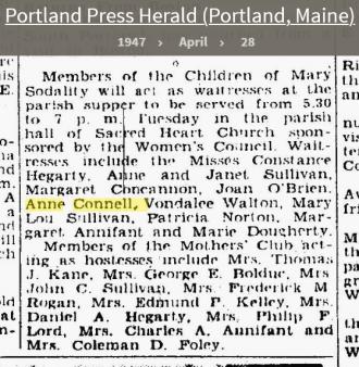 Anne Louise Connell-Coughlan--Portland Press Herald (Portland, Maine)(28 apr 1947)