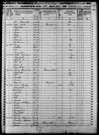 James Dennison family, Francois, Missouri, 9/4/1850, 35,b. Virginia, Gunsmith, Wife Elizabeth, 29, b. Kentucky, Wm? 10, b. MO Martha, 7, b. MO Susan, 2, b. MO  Daniel, Dennison, 27, Farmer b. Kentucky.
