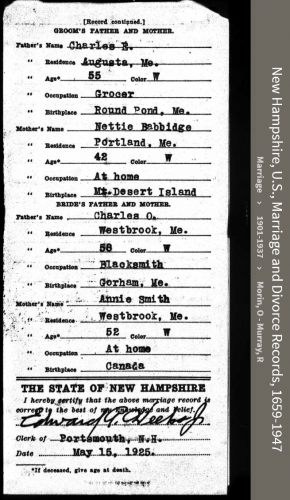 Alma Erskine McLellan-Murphy-Connell --New Hampshire, U.S., Marriage and Divorce Records, 1659-1947(21apr1925)back