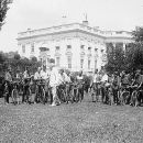 President Harding & bicycle boys