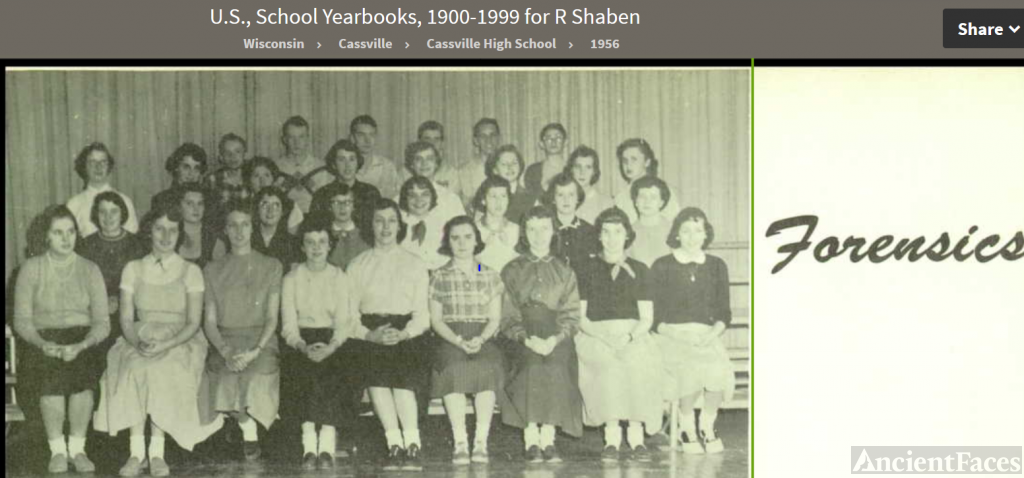 Ruth Ann Shaben--U.S., School Yearbooks, 1900-1999(1956) Forensics a