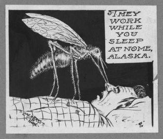 Cartoon of giant mosquito