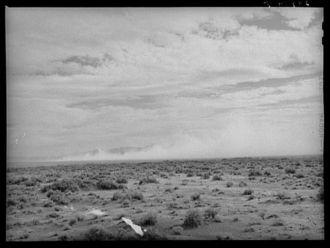 Dust storm on desert. Nye County, Nevada