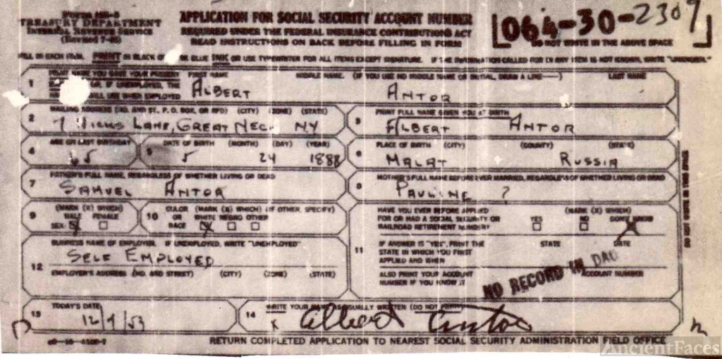 Social Security Application for Albert Antor