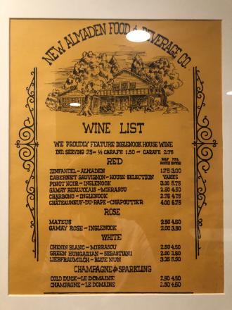 New Almaden Food & Beverage Co. - Wine List