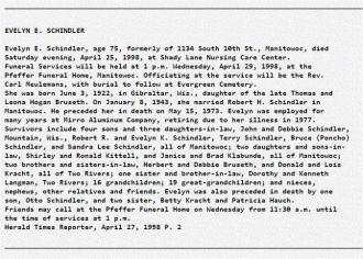 Evelyn E (Bruseth) Schindler Obituary