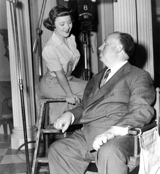 Patricia Hitchcock with daddy.